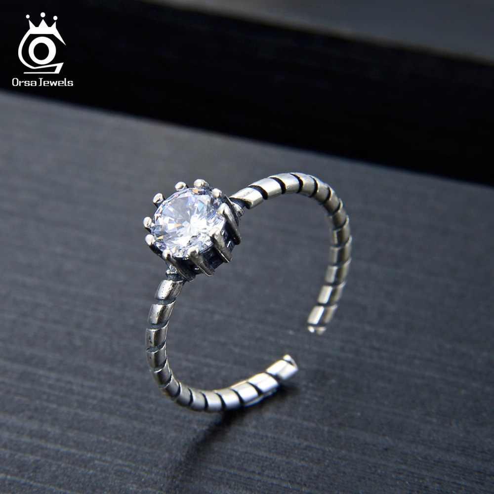 ORSA JEWELS แหวนผู้หญิง 925 เงินสเตอร์ลิง AAA Black & White CZ หญิงแหวนแฟชั่นสำหรับของขวัญเครื่องประดับ SR119