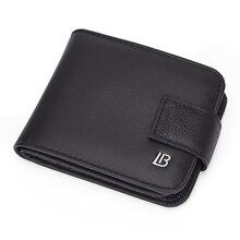 Мужской черный винтажный кошелек bolanten из натуральной кожи с карманом для монет, Короткие Кошельки, маленький кошелек на молнии с держателями для карт, мужской кошелек