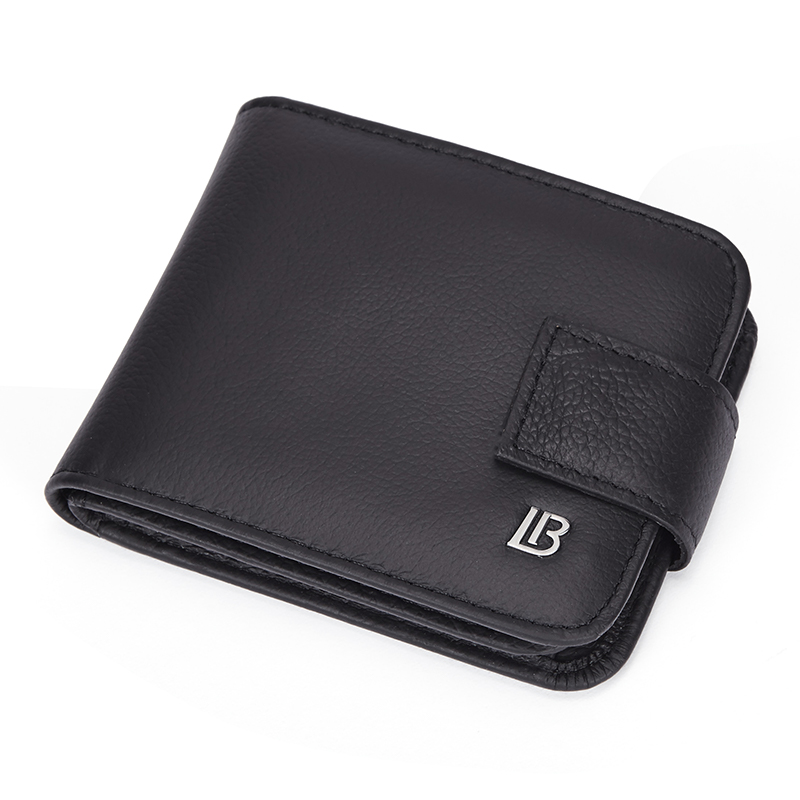 BOSTANTEN Genuine Leather Black Vintage Wallet Men With Coin Pocket Short Wallets Small Zipper Walet With Card Holders Man Purse