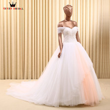 QUEEN BRIDAL Custom Ball Gown Cap Sleeve Wedding Dresses