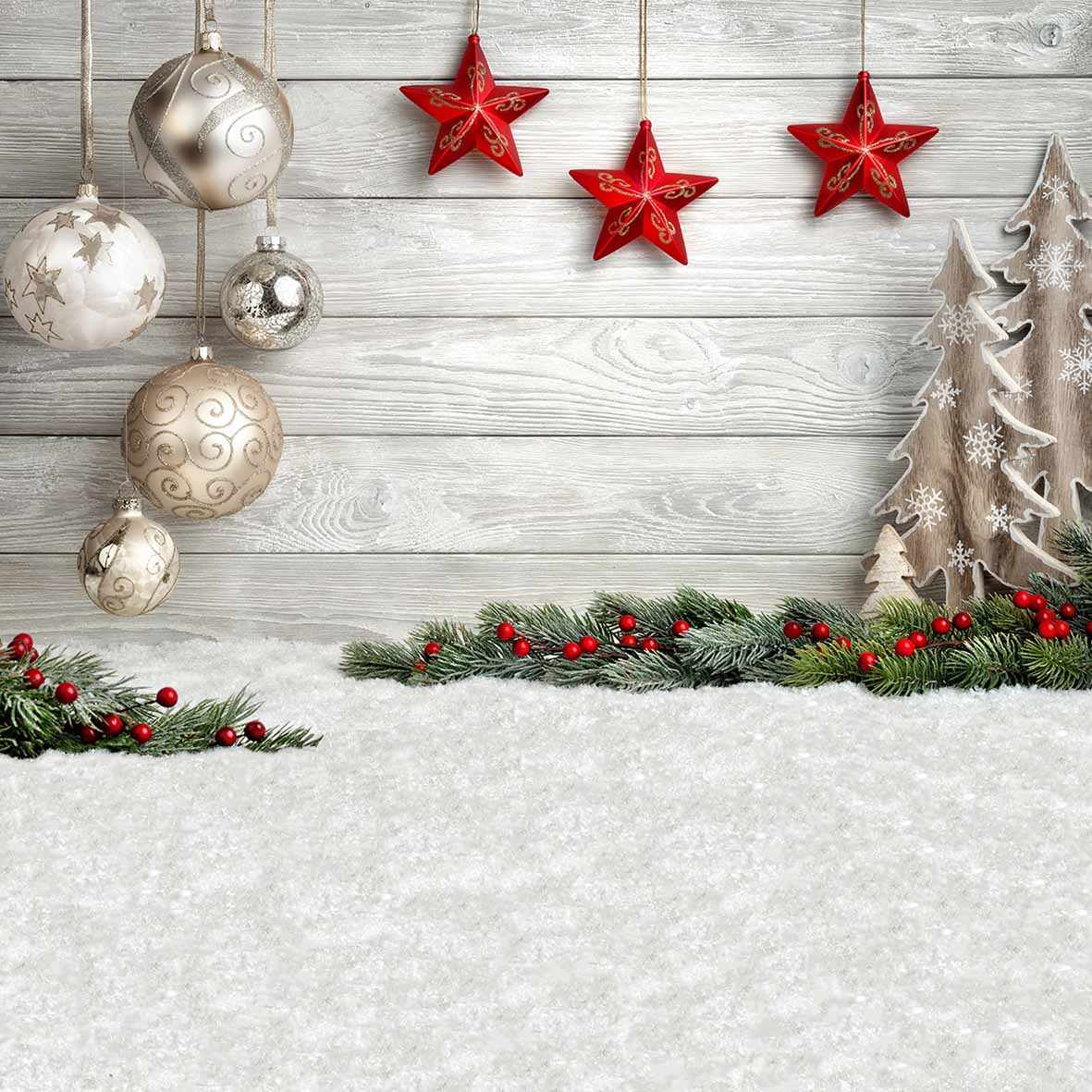 Christmas Backround.Allenjoy Christmas Background Photography Ball Stars Child White Wooden Tree Decoration Photographic Photocall Navidad Backdrop