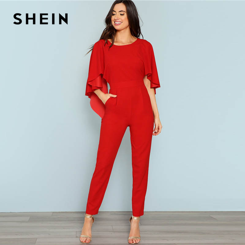 Us 230 40 Offshein Red Backless Open Shoulder Solid Cape Jumpsuit Elegant Cloak Sleeve Stretchy Jumpsuits Women Autumn Highstreet Jumpsuit In