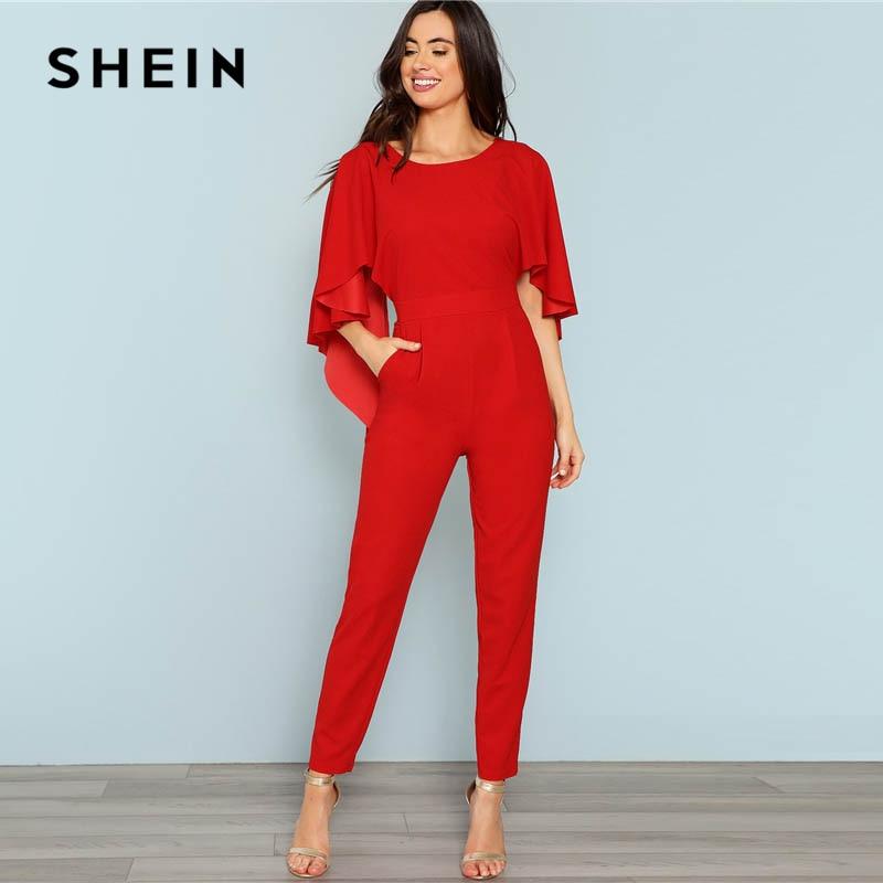 SHEIN Red Backless Open Shoulder Solid Cape Jumpsuit Elegant Cloak Sleeve Stretchy Jumpsuits Women Autumn Highstreet Jumpsuit