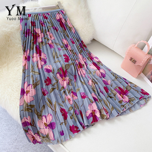 Image 3 - YuooMuoo New 2020 Women Chiffon Skirt Summer Flower Elegant Pleated Skirt Ladies Vintage High Waist Long Skirts