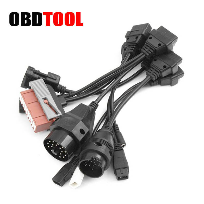 8pcs Car Cables <font><b>Set</b></font> for Tcs CDP Pro Scanner OBD <font><b>Adapter</b></font> To <font><b>OBD2</b></font> Cars Diagnostic Interface Tool Full <font><b>Set</b></font> 8 Car Connectors image