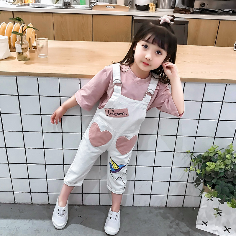 Anlencool youngsters women set 2019 new spring 2-7 years Korean women T-shirt + pants two piece set Women Vogue Strap pants clothes Clothes Units, Low-cost Clothes Units, Anlencool youngsters...