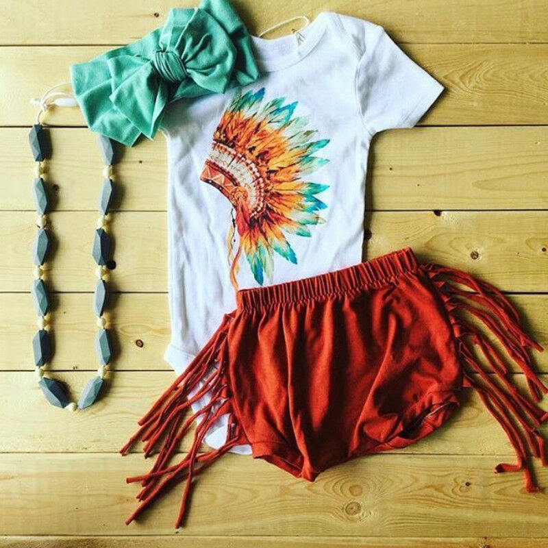 CANIS Brand Infant Baby Girls Feather Printed Outfits Set Romper + Tassel Shorts + Lovely Headband Clothes 0-24M