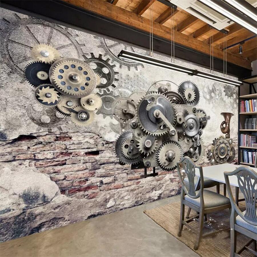 Beibehang カスタム壁紙 3d 写真壁画機械式ギアノスタルジックなレトロ