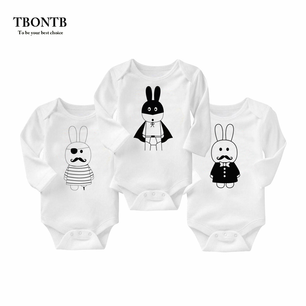 TBONTB 3PCS Baby Boy Bodysuit Cotton Rabbit Printed Newborn Clothes Long Sleeve Baby Body Suit Baby Bodysuit 0-12 Drop Shipping