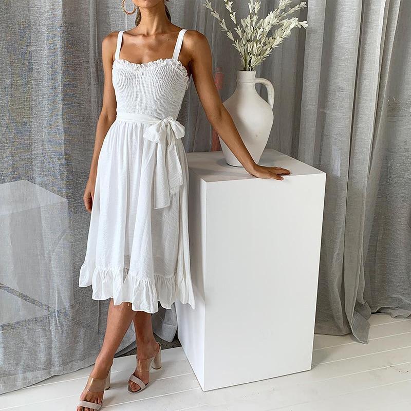 ruffles pleated boho summer beach dress (7)