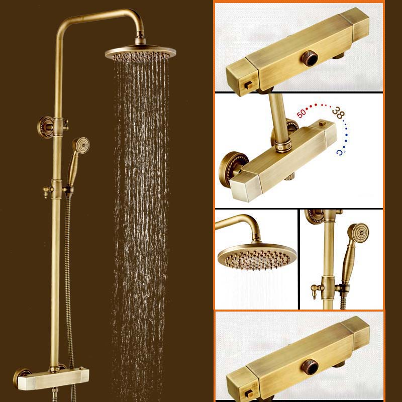 Wall Mounted Brass Antique Shower Set Dual Handle constant Temperature Shower Faucet with Thermostatic Mixer Valve