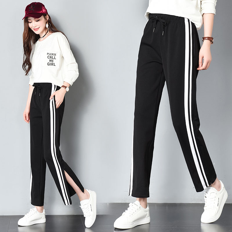 2018 Women Long Pant Casual Side Striped Wide Leg Pants Black Sweatpants Loose Straight Trousers ...