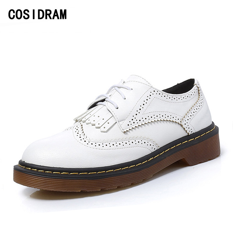 COSIDRAM Plus Size 41 42 43 Women Oxfords PU Leather Women Flats Spring Autumn Fashion Women Shoes Brogue Tassel Female BSN-020 beyarne rivets decoration brand shoes flats women spring autumn fashion womens flats boat shoes sexy ladies plus size 11