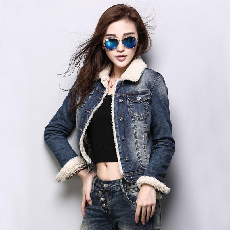 2015 Women S Plus Velvet Denim Jacket Korea Style Fur Collar Jeans