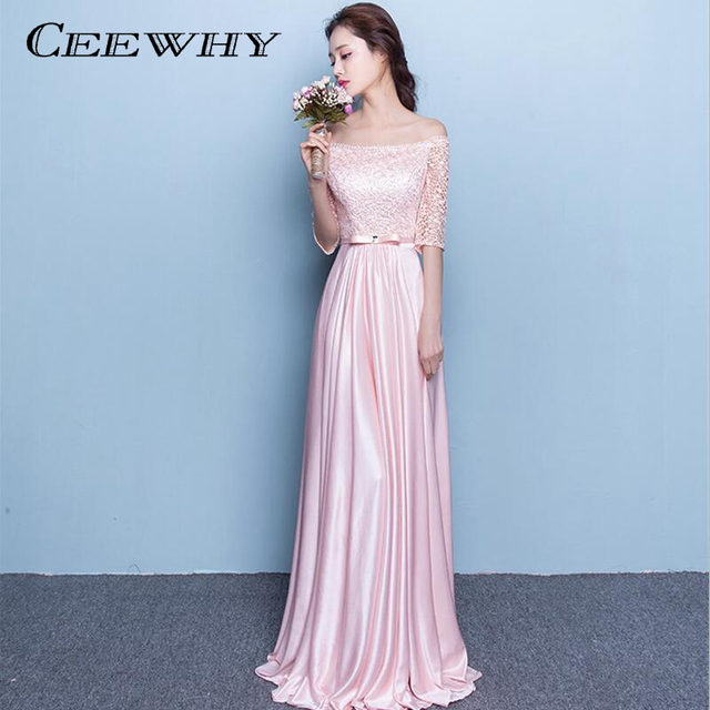 CEEWHY 2017 Half Sleeves Formal Occasion Pink Elegant Evening Dress Long  Mother of the Bride Party 02d08f7ea341