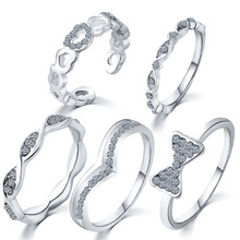 5PCS/Set AAA Crystal Zirconia Silver Joint Rings For Women CZ Crystal Models Knuckle Rings Set