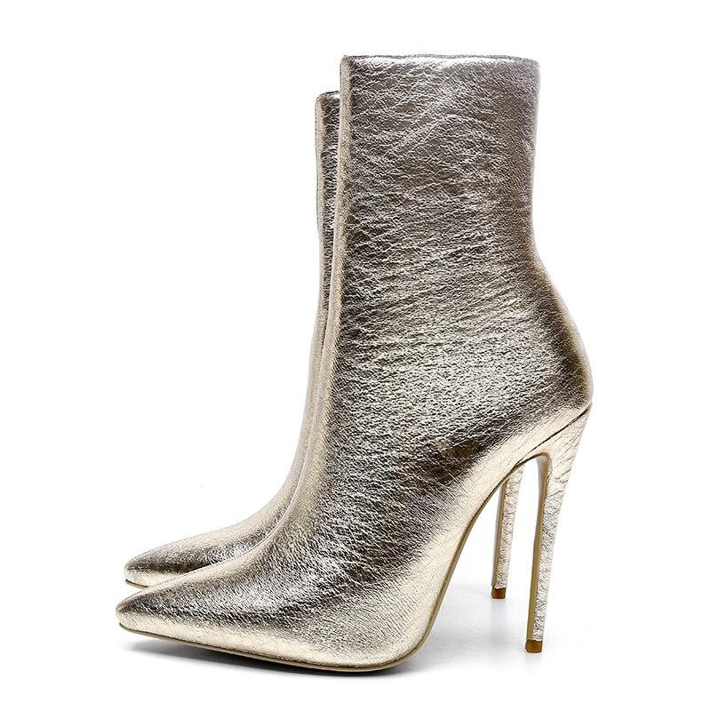ISNOM invierno tobillo botas de mujer 2018 cálido de cuello alto puntiagudo dedo del pie calzado de moda para fiesta zapatos de cremallera zapatos de tacón alto zapatos de mujer-in Botas hasta el tobillo from zapatos    2
