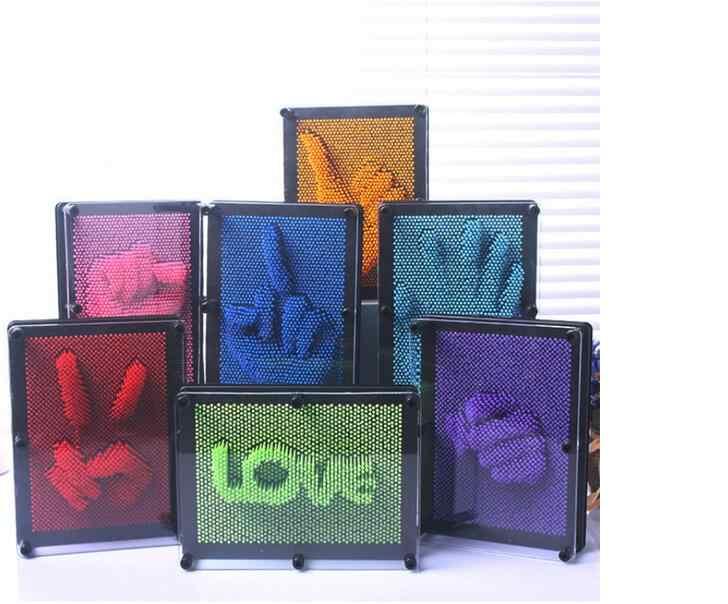 1PC 3D Clone Pin Art Plastic Art Shoumo Colorful Needle Child Get Face Palm Model 3D Clone Pin Art Plastic Toy Funny Game Pinart