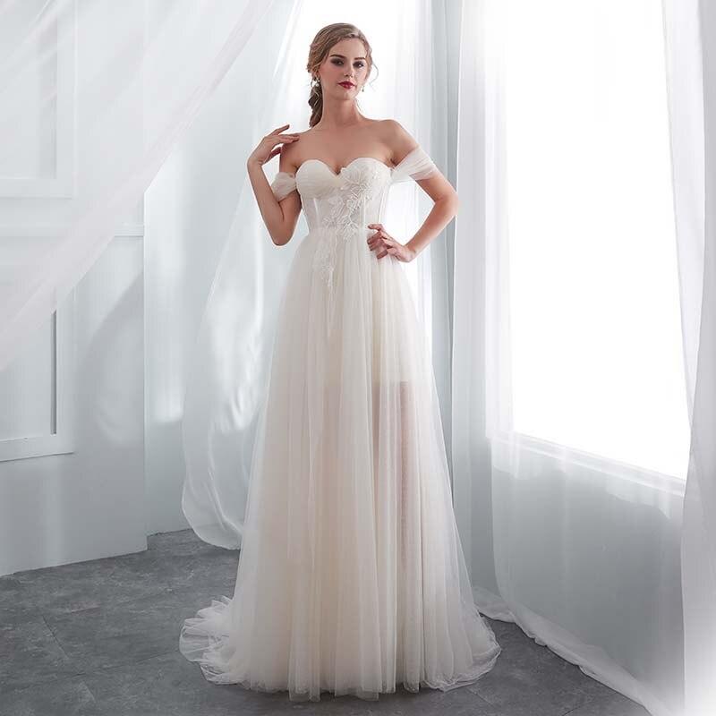 8c3575bd4135 Aliexpress.com : Buy 2019 Beach Bridal Dress Vestido De Noiva Sweetheart Off  The Shoulder Simple Tulle Wedding Dress Vestido De Novia from Reliable  Wedding ...