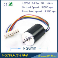 55W 17000rpm 12V DC 5.25A 31mN.m 28mm * 45mm High Speed Brushless DC Motor Free shipping
