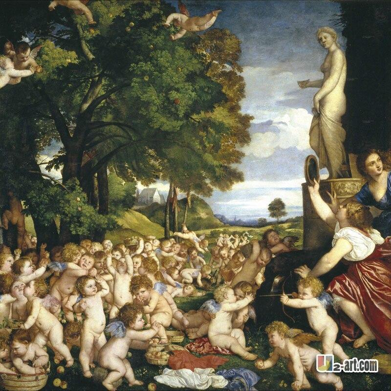 Impresiones en lienzo (adoración Ticiana de Venus) pintura de buena calidad de la decoración al por mayor impresa en la religión del lienzo-206 (24*24 pulgadas)