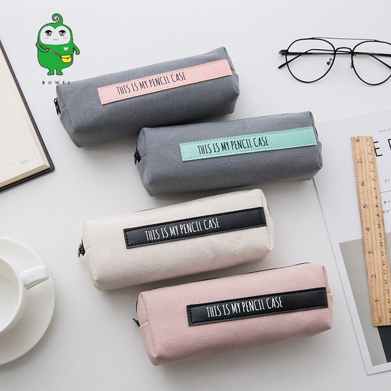 1PC Kawaii Canvas Pencil Case High Capacity Pen Bags Cute Letter Pencil Bags For Girls Gift School Supplies Korean Stationery