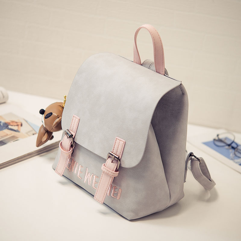 Japan Korean Style Ladies Backpack Fashion Embroidery Women Bags PU Leather Girls School Bag Small Women