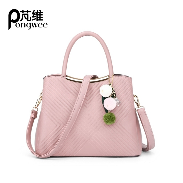 PONGWEE Handbags Girls Messenger Bag Elegant Striped Top Handle Women Bag  With Charm Sweet PU Leather