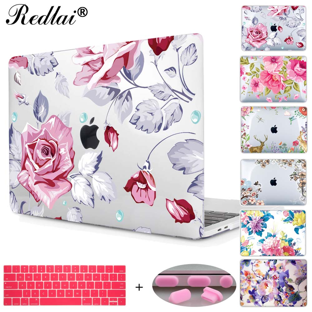 все цены на  Redlai Colorful Floral Plastic Print Hard Case Cover For Macbook Pro Retina 13 12 15 Air 13 11 New Pro 13 15 Touch bar Sleeve  онлайн