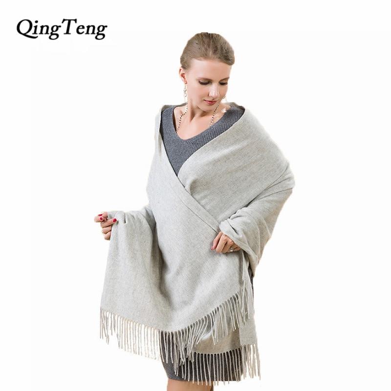 200*75cm Oversize Winter Scarf Shawls Cashmere Wool Women Wrap Scarf Solid Colour Pashmina Shawls Luxury Brand Female Scarf