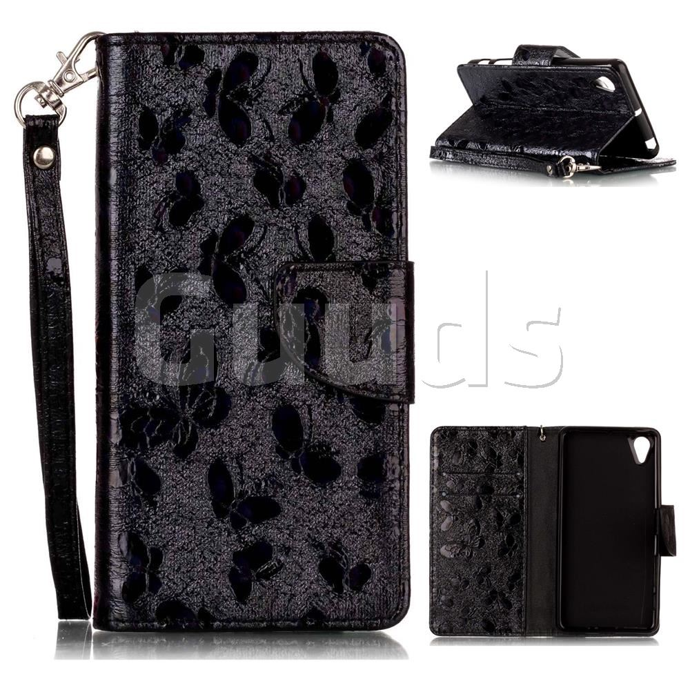 Luxury Laser Butterfly Optical Maser Leather Wallet Case for Sony Xperia X Performance - Black