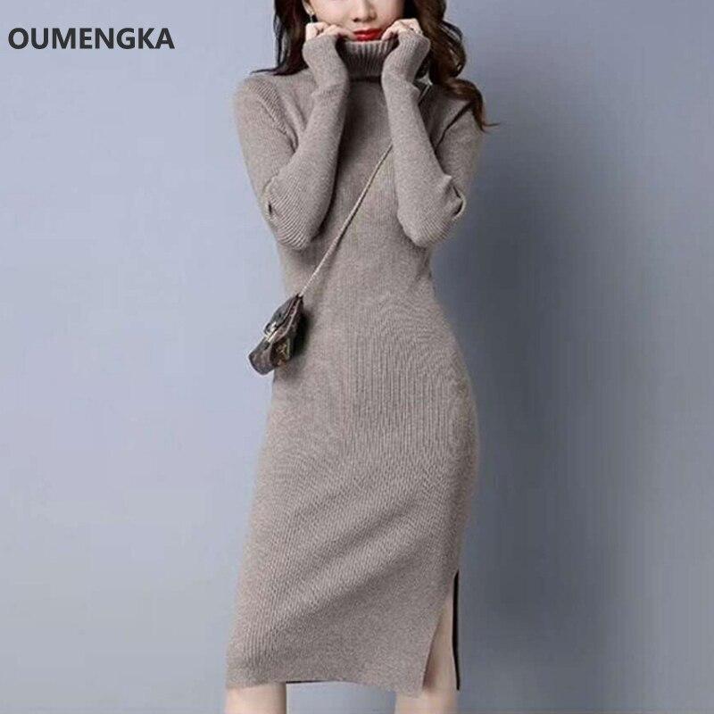 367d99285b4c 2018 Autumn Winter Women Side Split Sweater Dresses Turn-down Collar Slim  Jumper Vestido Long