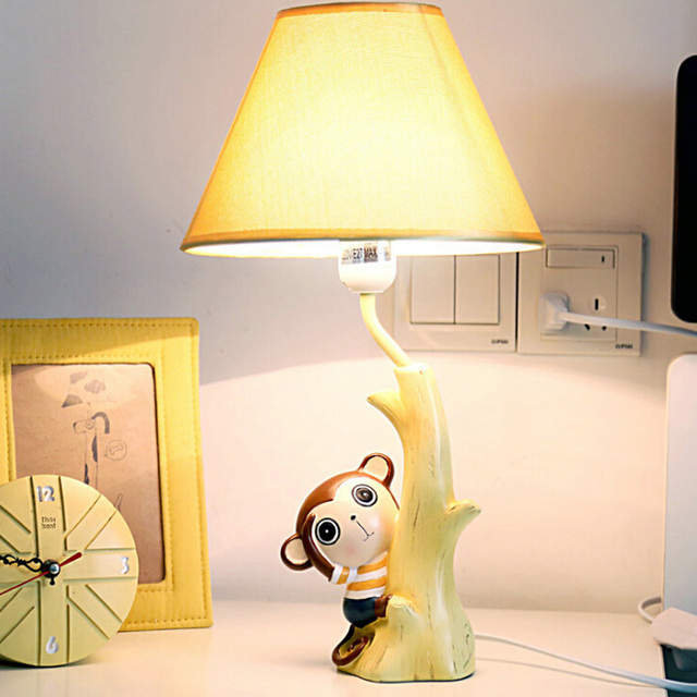 110V-220V Children Room Led Lamp Table E14 Led Desk Light Meng Monkey Switch Button Bedside Lamp Cartoon Wood Desk Lamps