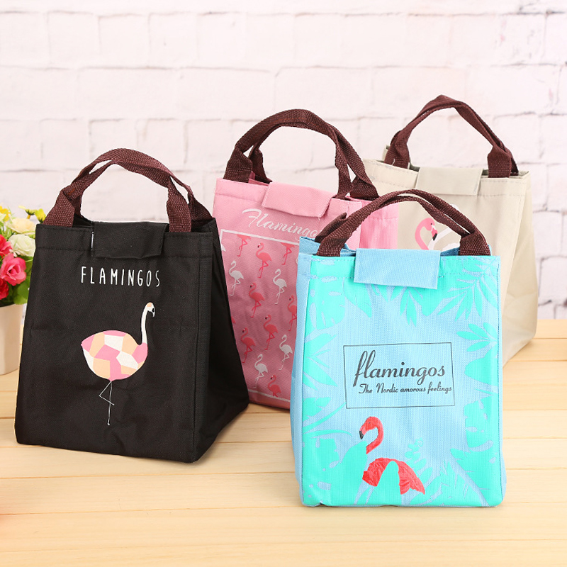 BONAMIE New Portable Thermal Insulation Lunch Bag Cartoon Oxford Cloth Picnic Travel Lunch Box For Food Cute Flamingo Cooler Bag