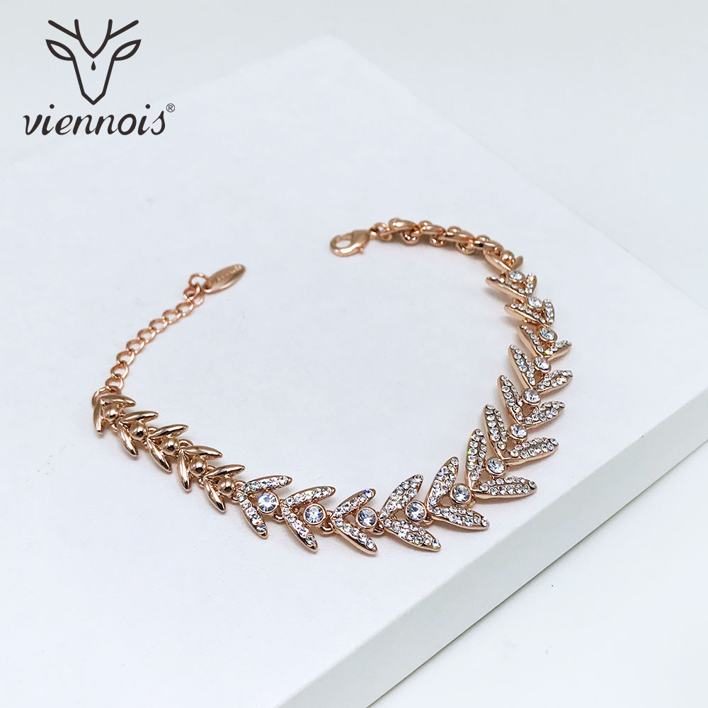 Viennois Bracelet Bangles Wedding-Jewelry Women Rose-Gold/silver-Color Trendy for Chain