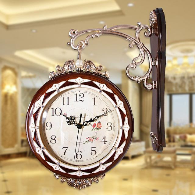 Vintage Double Sided Wall Clock Saat Relogio de Parede Watch Large Digita Wall Clocks Horloge Murale Duvar Saati Reloj de Pared