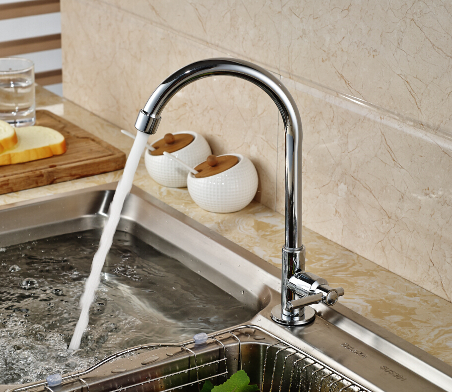 Polished Chrome Brass Kitchen Faucet Swivel Spout Single Handle Hole Deck Mounted Tap For Cold Water