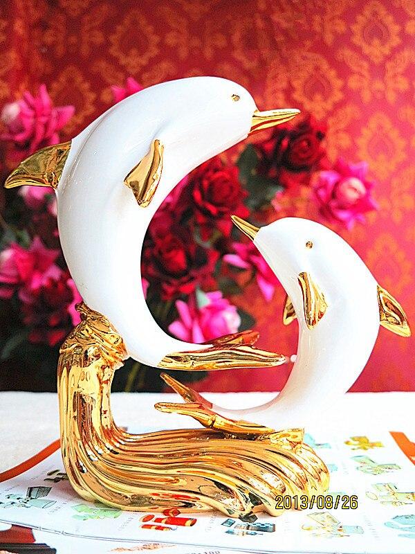 Ameublement européen résine animal dauphin piano bar meuble TV vitrine cadeaux décoratifs ornements