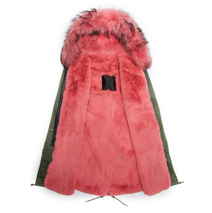 Long style parka winter jacket watermelon red lined & hooded parka fur jacket