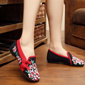 Hot New 2016 Spring Woman Embroidery Shoes Flower Casual Canvas Shoes Footwear Ballerinas Shoes Old Peking Wedge Shoes size 41