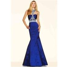 Vestidos De Fiesta Largos Elegantes Halter Strass Prom Dresses Nixe-langes Party Kleider Royal Blue Satin Abendkleid