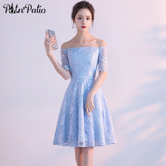 PotNu0027Patio Elegant Boat Neck Off Shoulder Sky Blue Short Lace Bridesmaid  Dresses With Half