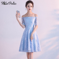 PotN Patio Elegant Boat Neck Off Shoulder Sky Blue Short Lace Bridesmaid Dresses With Half Sleeves