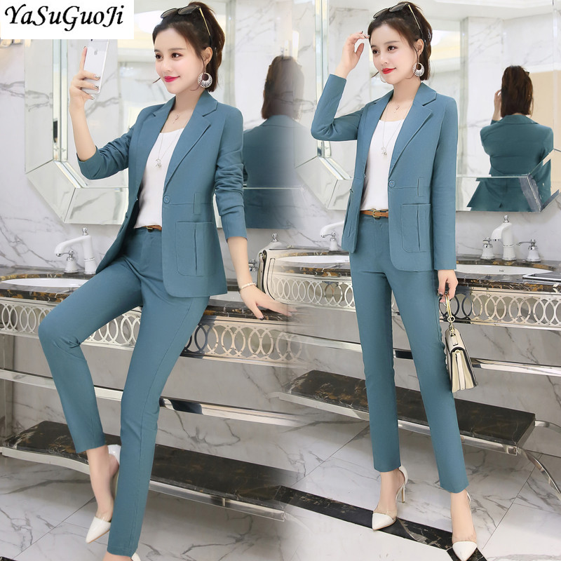 New 2019 office lady style fashion solid color patchwork slim fit suit women women's clothing womens suits with belt TXF11