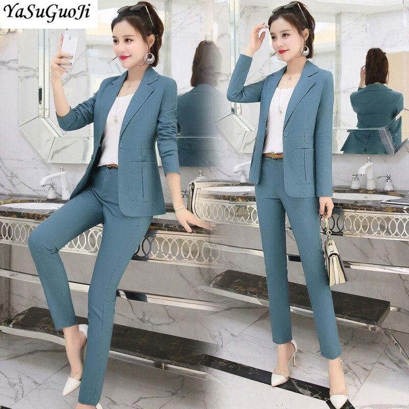 Nouveau 2019 bureau dame style mode solide couleur patchwork slim fit costume femmes vêtements femmes costumes avec ceinture TXF11