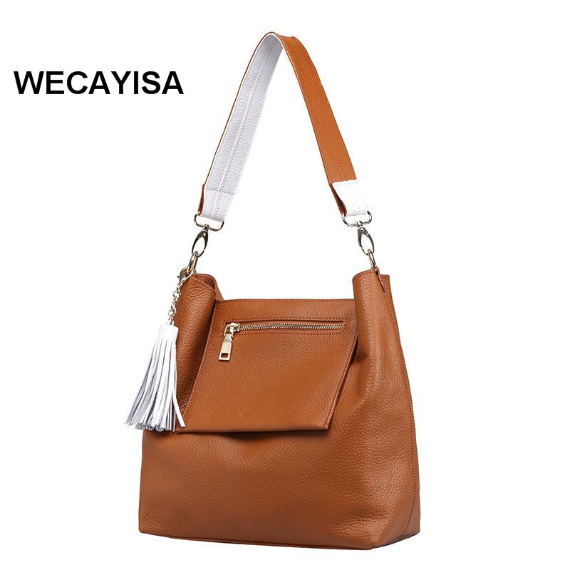 Genuine leather women's handbag fashion first layer of cowhide tassel bucket bag messenger bag decoration high end of the first layer of litchi grain leather bucket bag basket classic bag handbag small women