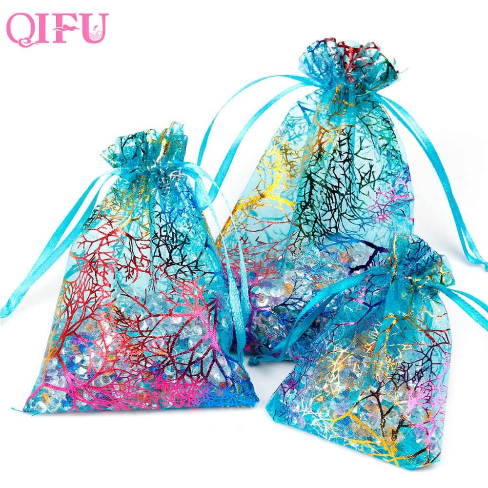 QIFU 50pcs Coralline transparent bag Organza Pouch Party Gift Blue Bags Candy Box Jewelry Bag New Year Wedding Birthday FavorsNe
