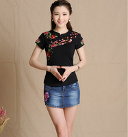 2016 New Women Vintage Stand Collar Flowers Embroidery Blouse Female Short Sleeve Ethnic Tee Dark Blue