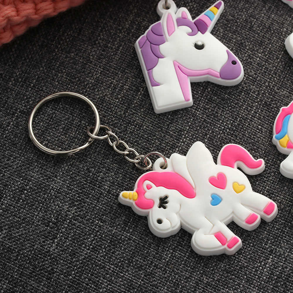2PCs Cute Mini Unicorn Key Chain PVC Horse Soft Rubber Key Buckle Women Bag  Car Pendant 86d25c725d