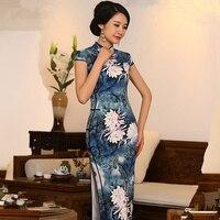 Thanh lịch Trung Quốc Phụ Nữ Satin Sườn Xám Bán Hot Truyền Thống Phong Cách Dài cái yếm Váy Vestido Quần Áo Size Sml XL XXL 368537